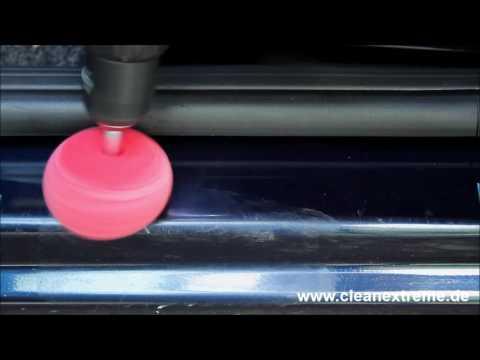 Kratzer entfernen: Einstiegsleiste am Auto polieren - Polierschwamm Ball Aufsatz - Anleitung Politur