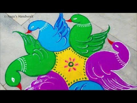 Easy Birds Rangoli designs with 7 x 4 dots - Birds Rangoli with dots - Simple Rangoli designs