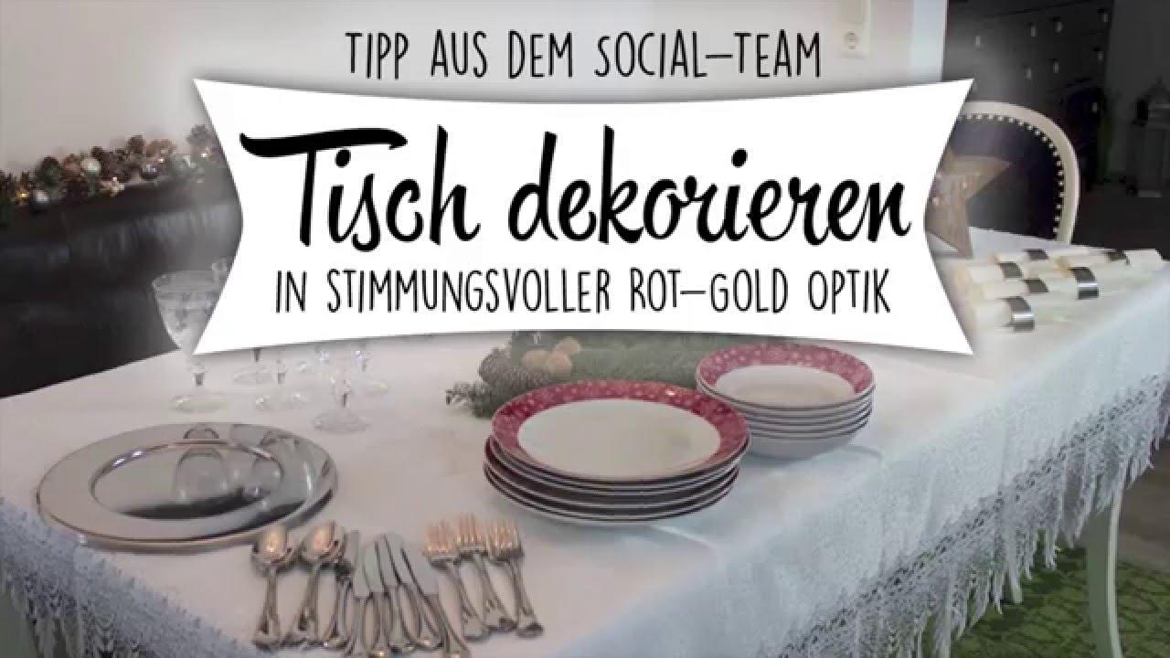 Weihnachts Tischdeko Stimmungsvolle Rot Gold Optik Youtube