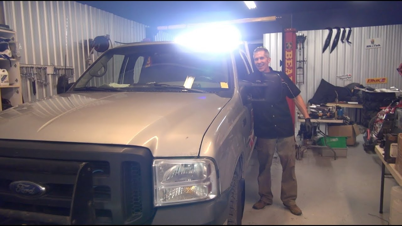 Ford f350 gets a 40 led lightbar insanely bright powermodz youtube aloadofball Image collections