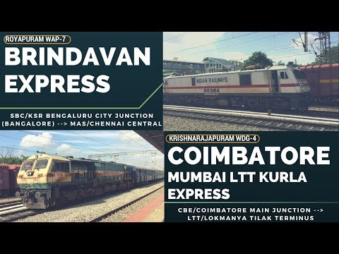 Powerful Royapuram WAP-7 Brindavan Express meets Coimbatore - LTT Kurla Express with KJM WDG-4