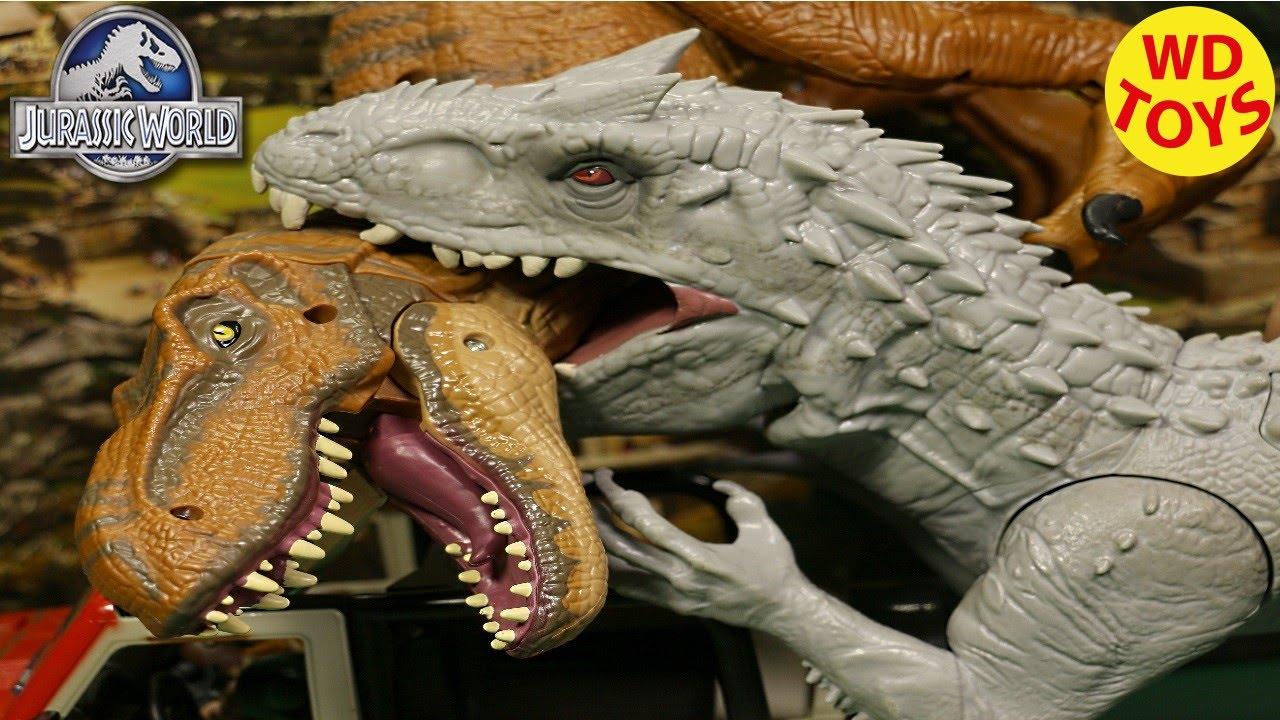 New Jurassic World Hybrid INDOMINUS REX Vs T-Rex 2015 UNBOXING Opening - WD  Toys Movie