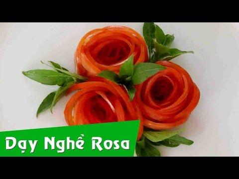 Tỉa rau củ - mẫu hoa hồng từ cà chua