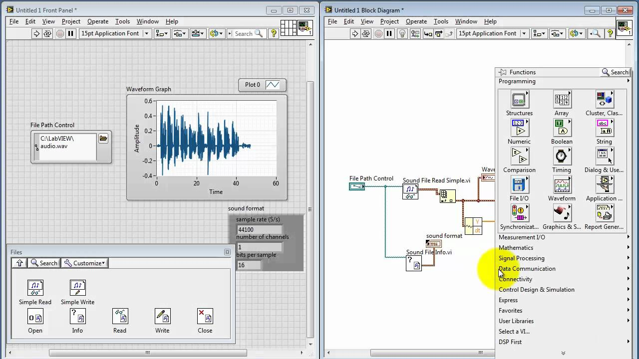 NI LabVIEW: Work with  wav audio files