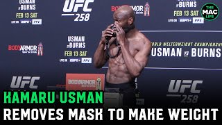 Kamaru Usman misses weight by .5-pounds and has to remove mask at UFC 258 official weigh-ins