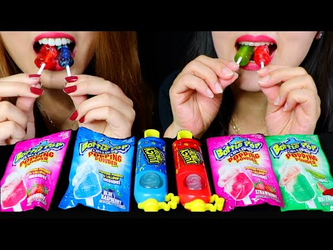 POPPING BOTTLE POPS + JUICY DROP POPS (Sour Candy, Fizzy Lollipops) | Kim&Liz Too