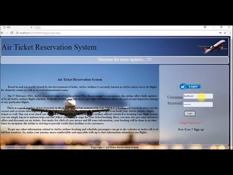 Air Ticket Reservation System | Web Application Designed Using ASP.Net | C# | SQL Server 2008R2 | VS