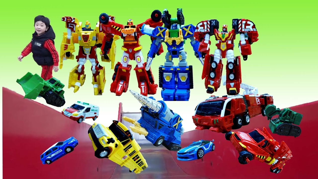 [With Kids]Hello Carbot Tobot Transformers Robot Slide Cars Toy Play Hello Carbot Animation