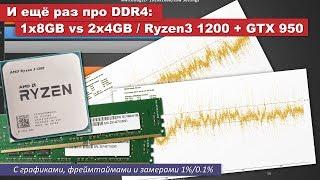И ещё раз про DDR4 - с графиками, фреймтаймом и 1%/0.1%. 1x8GB vs 2x4GB / Ryzen3 1200 + GTX 950
