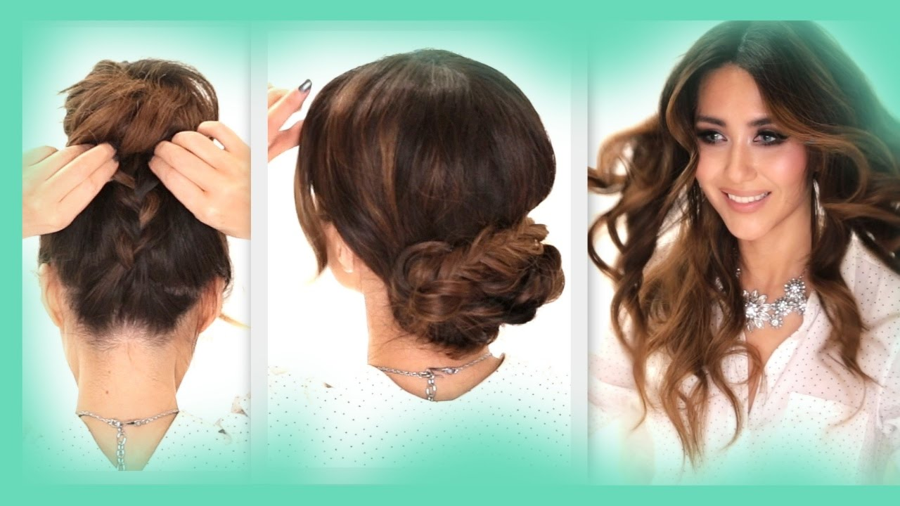 3 Easy Hairstyles School Braids Curls Messy Bun Hairstyle