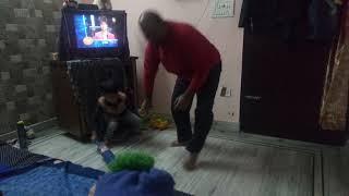 Mahi playing cricket in Room