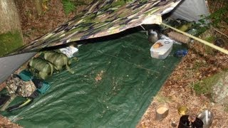 STEALTH WILD CAMP, Swedish Army Trangia Cooking, Tarp Set Up, Night/Day In The Woods