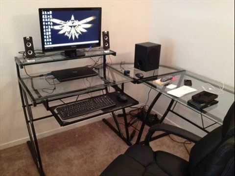 glass l shaped computer desk computer desks glass glass desk office youtube. Black Bedroom Furniture Sets. Home Design Ideas