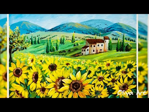 Sunflowers field landscape. Relaxing video. Acrylic painting