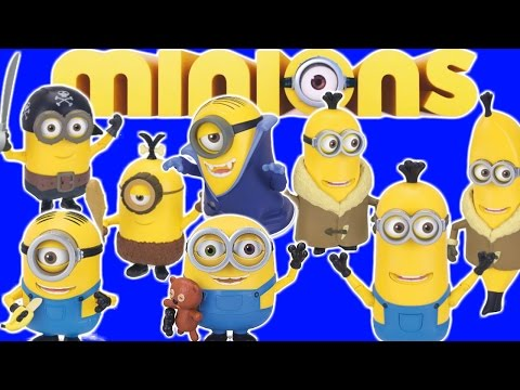 NEW MINIONS MOVIE CHARACTERS KEVIN STUART BOB BUILD A MINION  BANANA PIRATE CAVEMAN PIRATE