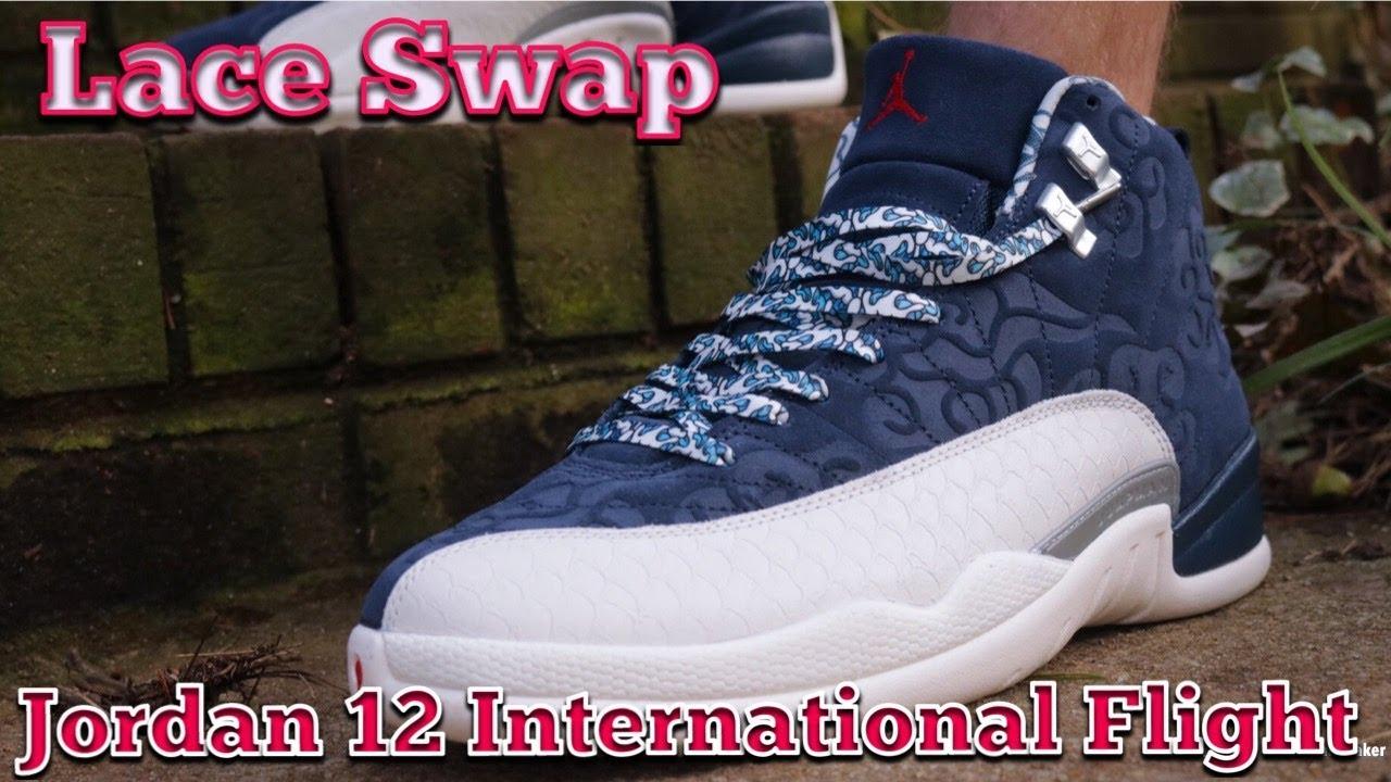 Lace Swap - Air Jordan 12 International Flight - Laces via Rope Lace Supply  Final fa88558a3