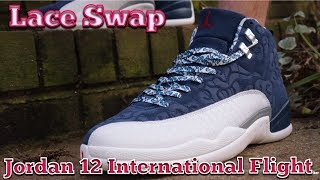 Lace Swap - Air Jordan 12 International Flight - Laces via Rope Lace Supply  Final 4c069d7b9
