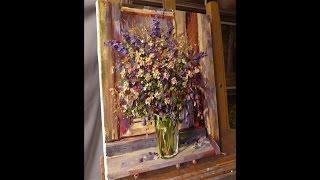 Работа маслом по фактурной акриловой пасте. Process of creating oil painting from Oleg Buiko.
