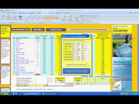 Excel-VB Ration Formulator - FREE UPGRADE Version With 7 Additional Rows For Extra Ingredients