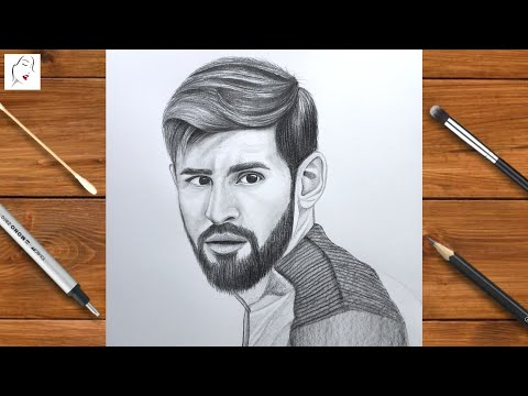 How to draw Messi Footballer / Lionel Messi Drawing   Pencil Sketch Drawing   The Crazy Sketcher