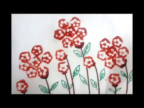 Vegetable Printing To Paint Flowers | How To Paint Flowers By Lady Finger