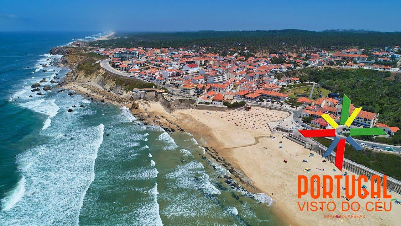 São Pedro de Moel beach - Penedo da Saudade lighthouse - Praia de São Pedro de Moel - 4K UltraHD