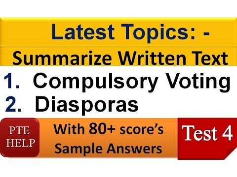 PTE Real Exam Summarize Written Text with 80+ score (8 Band)| Test 4|