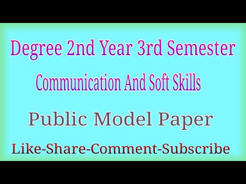 Degree 2nd Year 3rd Semester Communication And Soft Skills Public Model Paper | T T W