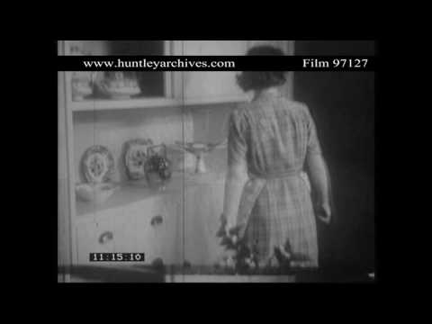 Pre-Fab Interior 1940's.  Archive film 97127