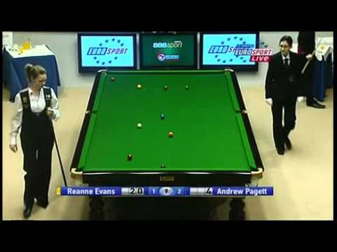 Women's world champion Reanne Evans vs Welshman Andrew Pagett in Sangsom 6 Red 2009