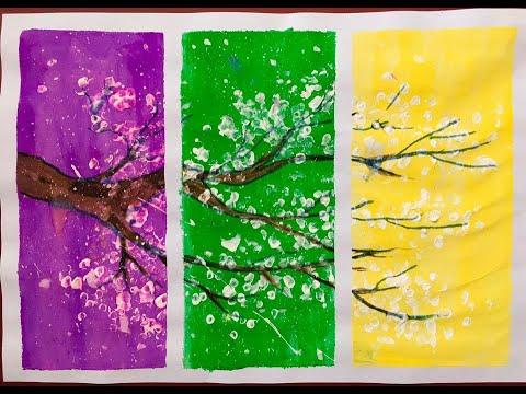 Vẽ tranh màu nước – bé vẽ cành hoa bằng bông tăm đơn giản- Quỳnh Anh Mimi