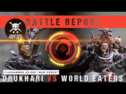 Warhammer 40,000 *NEW CODEX* Battle Report: Drukhari vs World Eaters 2000pts