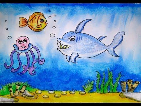 Draw a scenery of Ocean bottom- Under the sea by Indrajit Art School