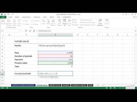 Microsoft Excel Tutorial - Using Excel's 'Future Value' function (=FV)