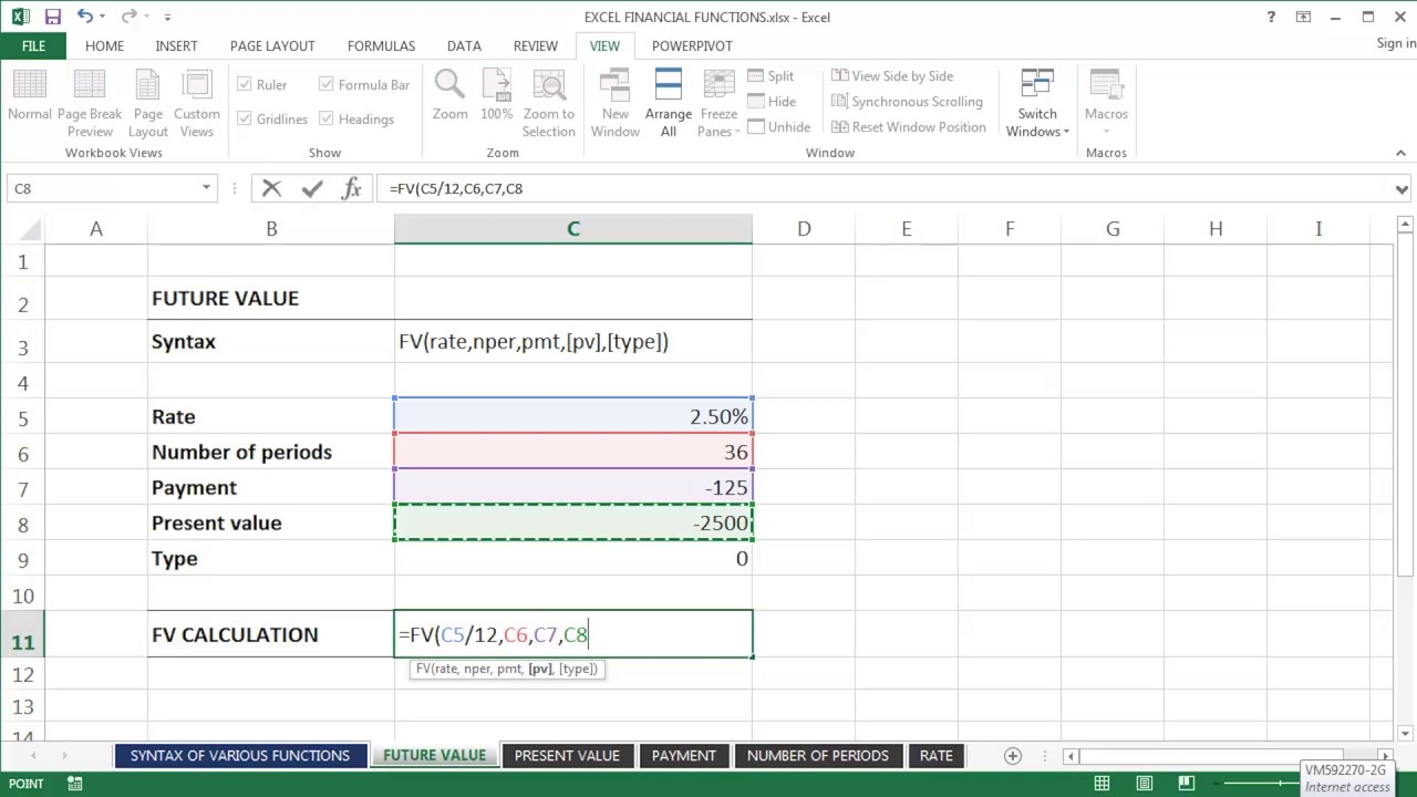 Microsoft Excel Tutorial - Using Excel's 'Future Value' function (=FV) - YouTube