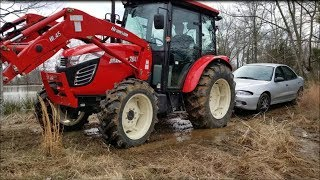 Trespassers on my land! Branson tractor hauling car from pond dam