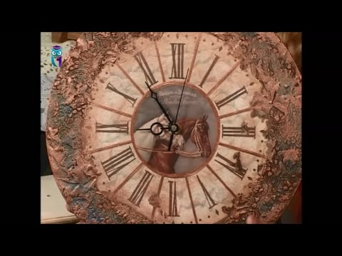 Clock's decoupage with volume decor imitating a metal surface. Diy. Handmade