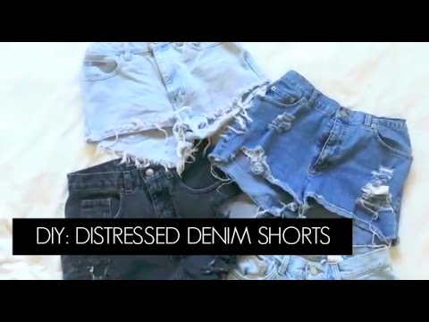 DIY: Thrifted Jeans Into Distressed High Waisted Shorts | Diana ...
