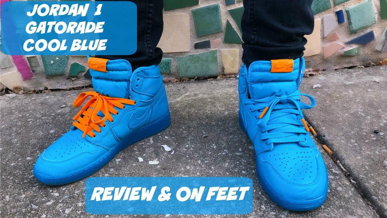 "premium selection 97595 d5752 GATORADE JORDAN 1 ""COOL BLUE"" REVIEW + ON FEET!!!"