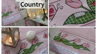 Pintando toalha para lavabo no estilo country