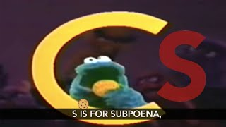 Cookie Monster Spells S-U-B-P-O-E-N-A