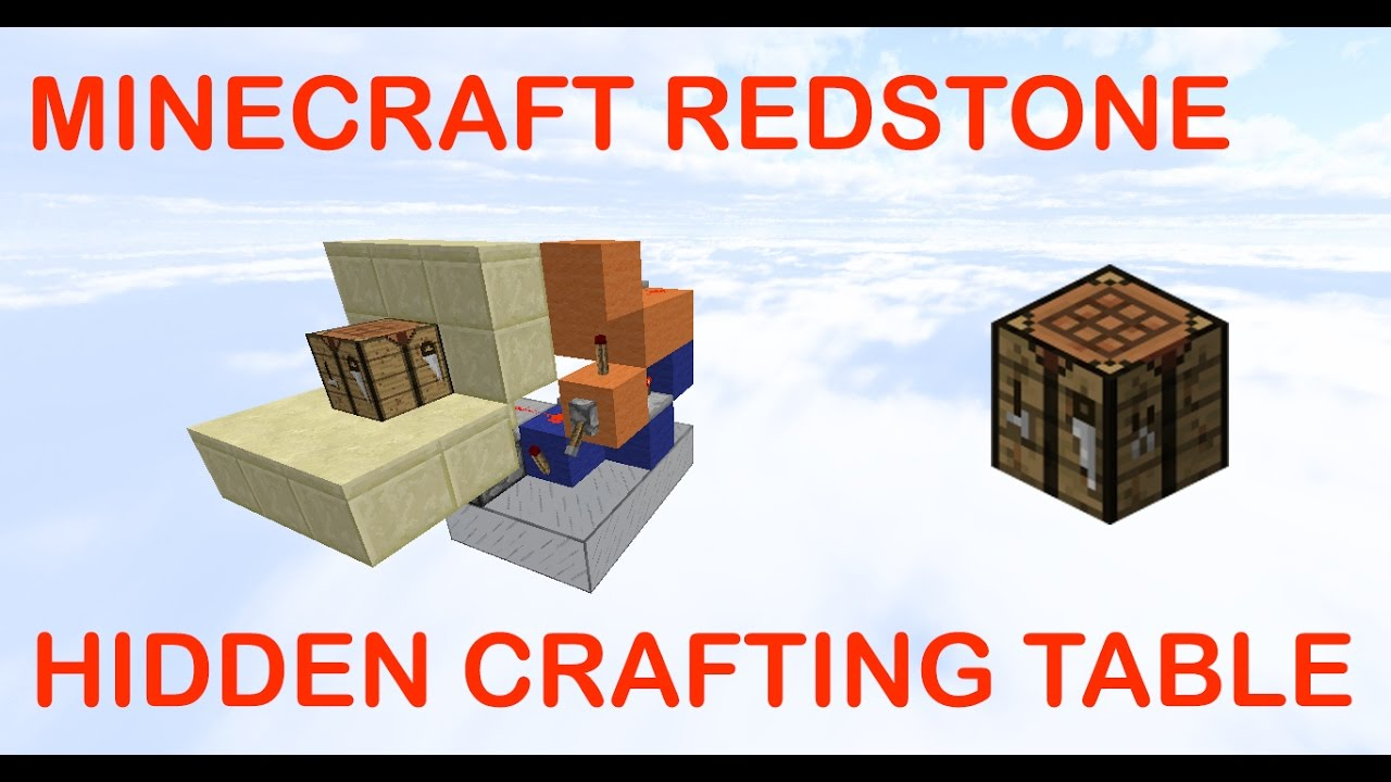 Minecraft Redstone Tutorials Hidden Crafting Table Easy Youtube