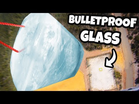 GIANT ICE BLOCK Vs. BULLETPROOF GLASS From 45m Tower!