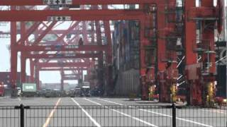 Close up view of vessel loading, Tokyo Harbor, Sefco Japan 3n (2010)
