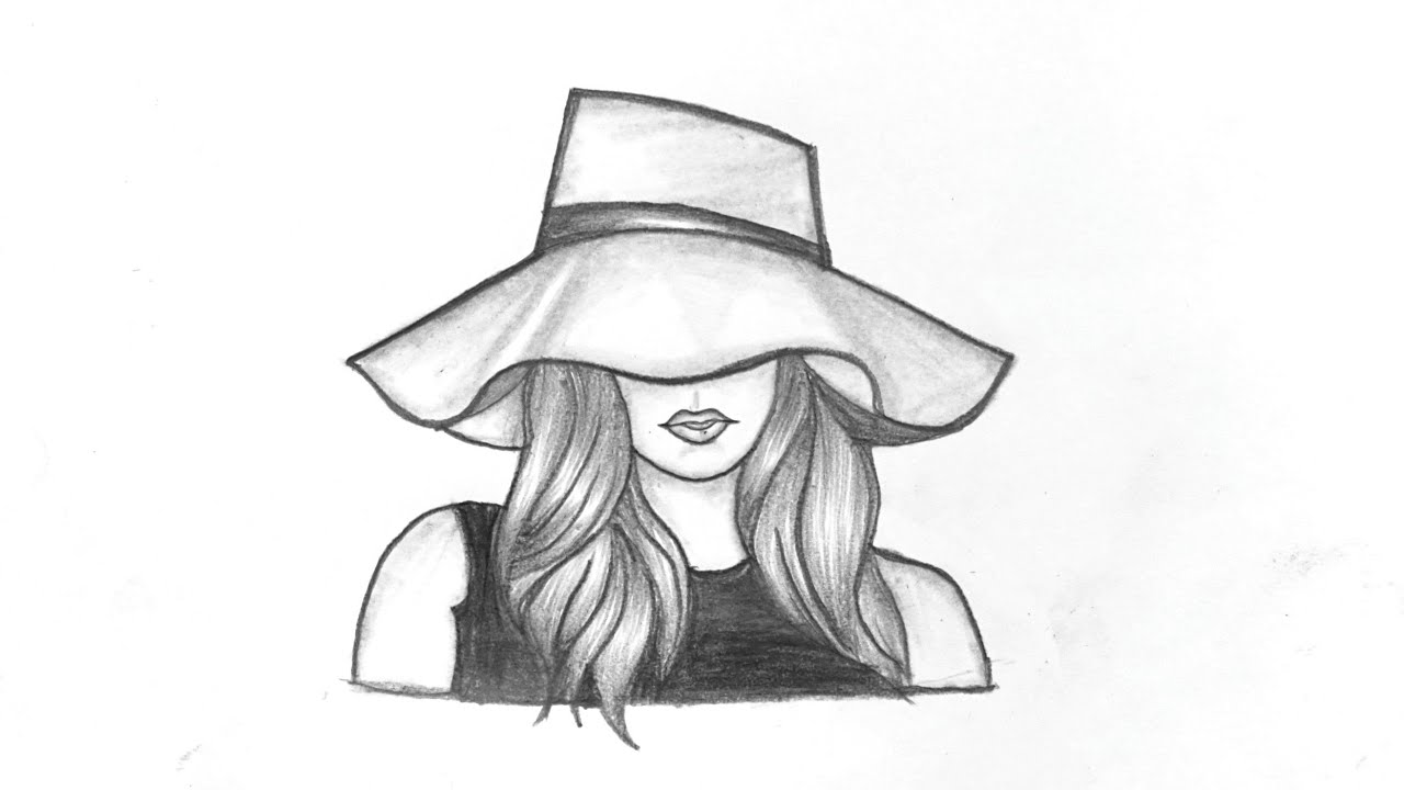 Beautiful Girl Drawing With Hat || How To Draw Girl With ...