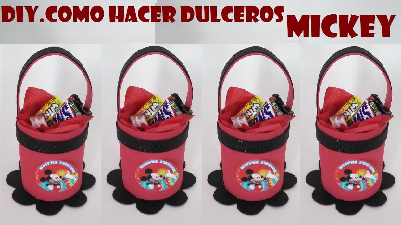 COMO HACER DULCERO DE FOAMI DE MICKEY MOUSE - YouTube