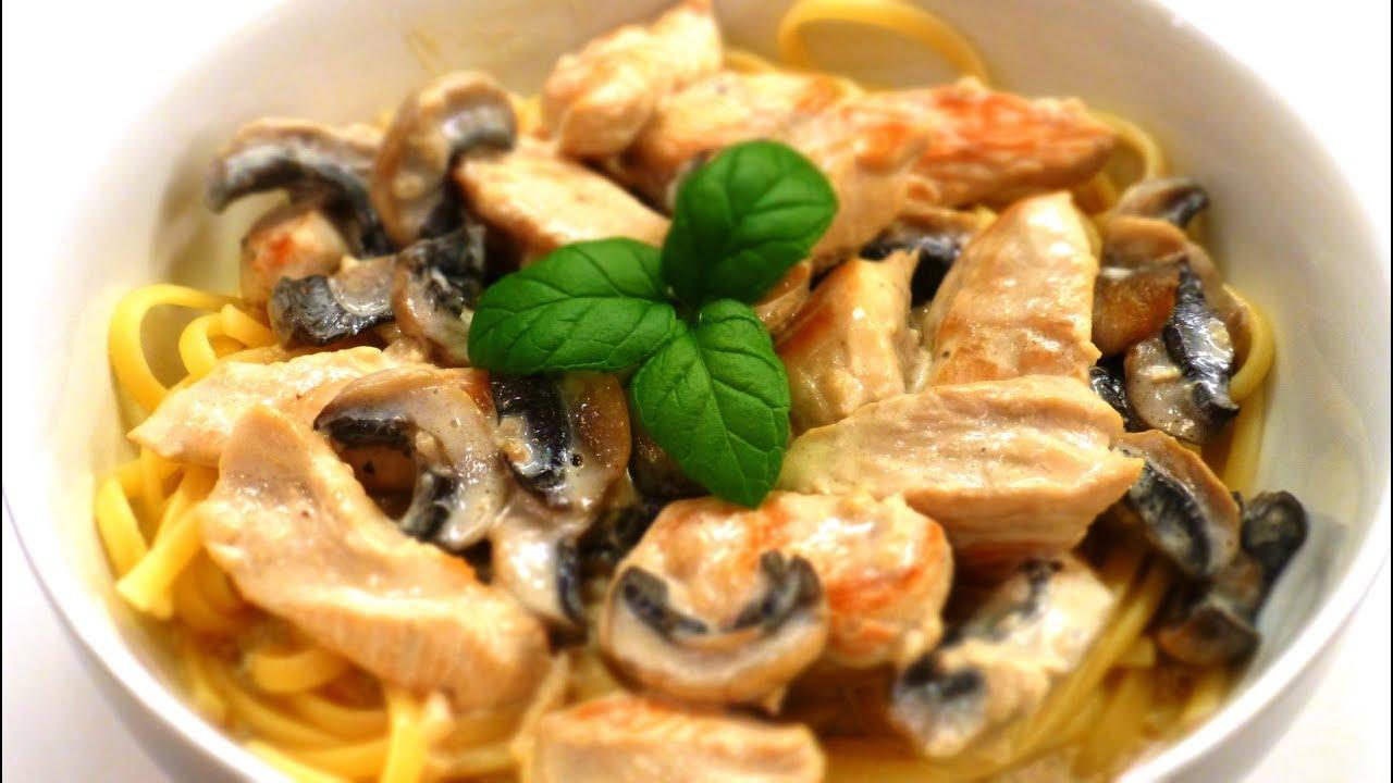 курица в духовке с грибами в сливочном соусе рецепт с фото
