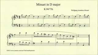 Mozart, Minuet in D major, K 94 73h, Piano