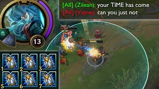 Zilean but he builds 6 Zhonya's Hourglasses because he's like, a master of time or something ofc lol