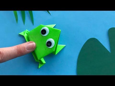 Origami Frosch Basteln Mit Kindern - Tiere Falten Mit Papier - Einfache Bastelideen